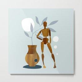 Wooden art mannequin Metal Print