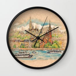 Castle and churches on riverside with boats Wall Clock