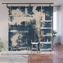 Grunge Paint Flaking Paint Dried Paint Peeling Paint Blue Beige Navy Wall Mural