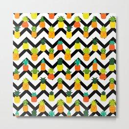 Pineapples Pattern Cute 394 Metal Print