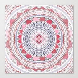 Red & Leisure Blue Mandala Canvas Print