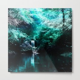 forest pond turquoise aesthetic landscape art altered photography Metal Print