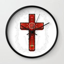 Red decorative cross Wall Clock