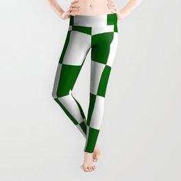 Large Checkered - White and Dark Green Leggings