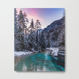 Magical sunset with turquoise river in Mojstrana, Slovenia Metal Print