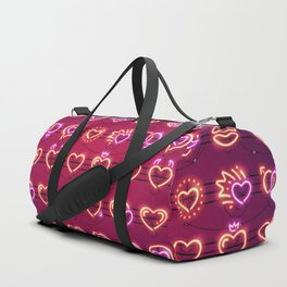Glowing Neon Hearts Seamless Background Duffle Bag