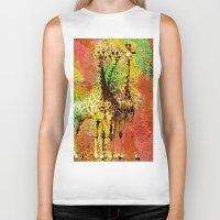 giraffe Biker Tanks featuring Giraffe  by Saundra Myles