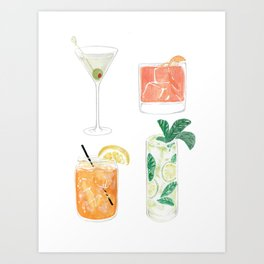 Colorful cocktails Art Print