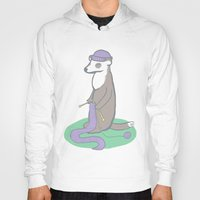 knitting Hoodies featuring Knitting Ferret by Noreen Torelli
