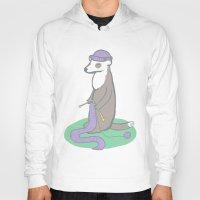 ferret Hoodies featuring Knitting Ferret by Noreen Torelli