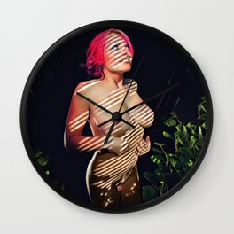 4068s-JG Naked in the Window Light Stripes Beautiful Jessica w Red Hair Wall Clock