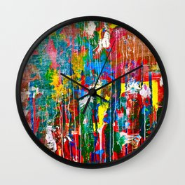 Abstract Paint Drips Wall Clock