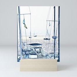 SAIL BOATS IN THE SAN FRANCISCO BAY - CALIFORNIA - BLUE MONOTONE Mini Art Print