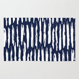 Vertical Dash White on Navy Blue Paint Stripes Rug