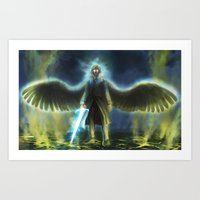 good omens Art Prints featuring Good Omens: Yellow Smoke by Katerina Romanova