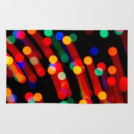 Bokeh Christmas Lights With Light Trails Rug