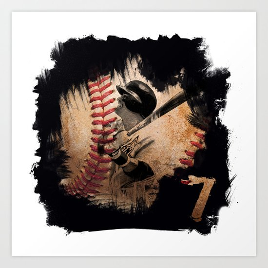 Craig Biggio Illustration in Black Art Print