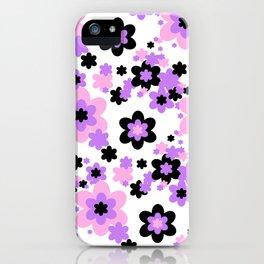 Pink Purple Black Floral iPhone Case