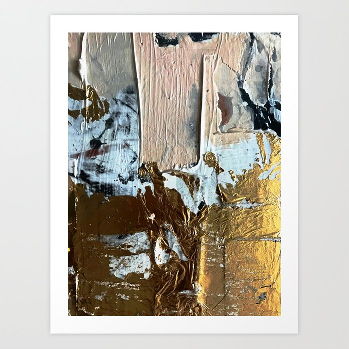 Compelling: a minimal, abstract mixed-media piece in gold, pink, black and white by Alyssa Hamilton Art Print