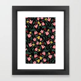Pink Floral Pattern on Black Framed Art Print