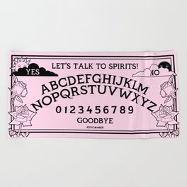 Let's Talk To Spirits | Pastel Pink Black Summoning Board Game Beach Towel