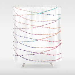 Modern abstract ombre pink lavender string lights Shower Curtain