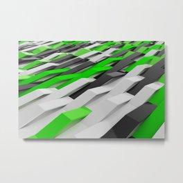 White, black and green plastic waves Metal Print