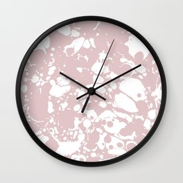 Blush Pink White Spilled Paint Mess Wall Clock