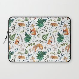 Foxes and Ferns Pattern Laptop Sleeve