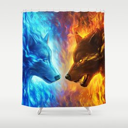 wolves fire and ice Shower Curtain