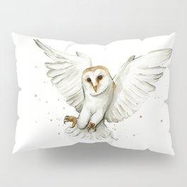 Barn Owl Flying Watercolor | Wildlife Animals Pillow Sham