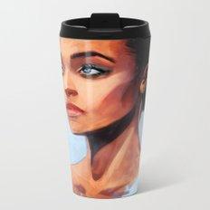 Portrait of a Brown Woman Metal Travel Mug