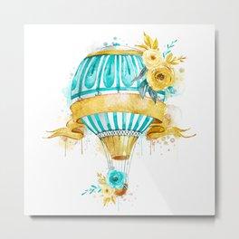 Watercolor Golden Flowers Metal Print