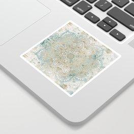 Mandala Flower, Teal and Gold, Floral Prints Sticker