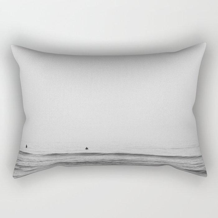Surfers - Black and White Ocean Photography Huntington Beach California Rectangular Pillow