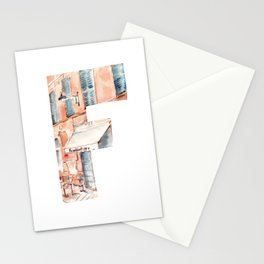 Letter F on white background with French street drawing by watercolor. Stationery Cards