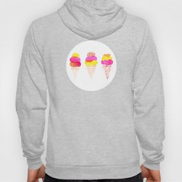 Colorful water color Ice Cream cone illustration pattern Hoody
