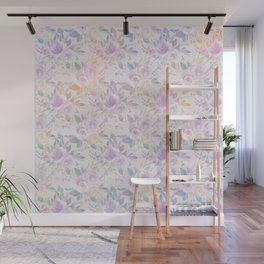 Modern lavender lilac pink watercolor floral Wall Mural