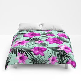 Tropical Flowers Palm Leaves Finesse #9 #tropical #decor #art #society6 Comforters