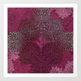 lace weave in red wine Art Print