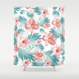 Tropical Flowers Palm Leaves Finesse #2 #tropical #decor #art #society6 Shower Curtain