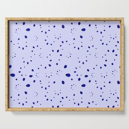 A lot of blue drops and petals on a cloudy background in nacre. Serving Tray