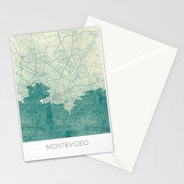 Montevideo Map Blue Vintage Stationery Cards