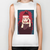 grimes Biker Tanks featuring Grimes by Arielle Herman