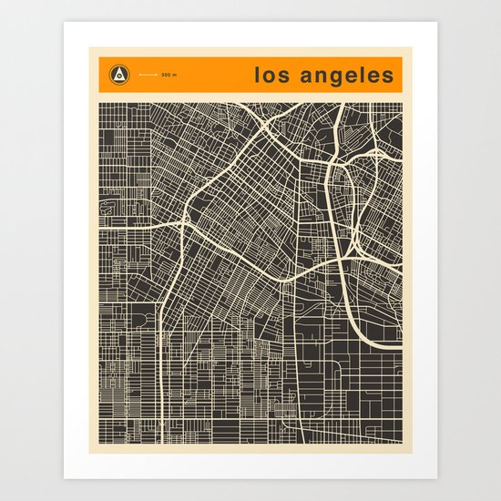 Los Angeles Map Art Print By Jazzberryblue Society6: Los Angeles Map Print At Infoasik.co
