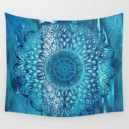 Teal Lotus Mandala Wall Tapestry