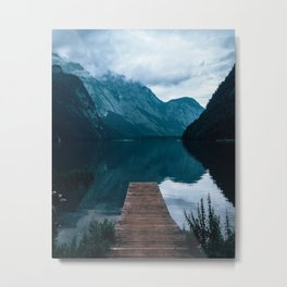 Königssee Bavaria Germany view over water between Alps and clouds. Metal Print