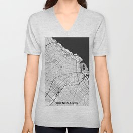 Buenos Aires City Map Gray Unisex V-Neck