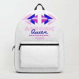 Aerobic Queen Retro 80s Geometric Typography Backpack
