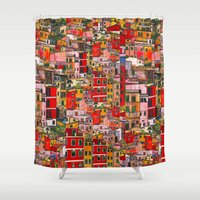 italy Shower Curtains featuring Manarola, Italy  by Marcella Wylie